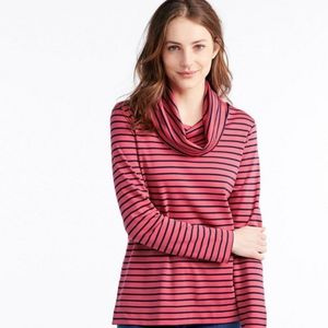 LL Bean | French Sailor's Cowlneck Shirt Pink/Navy